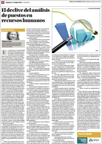 Levante El declive del análisis de puestos en recursos humanos - Roberto Luna