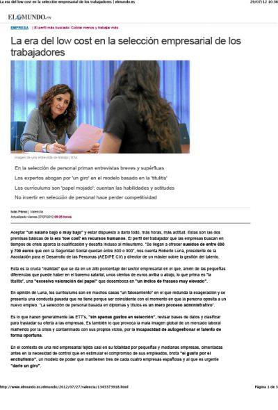 La era del low cost en la selección empresarial - Roberto Luna